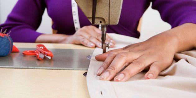 Woman using sewing