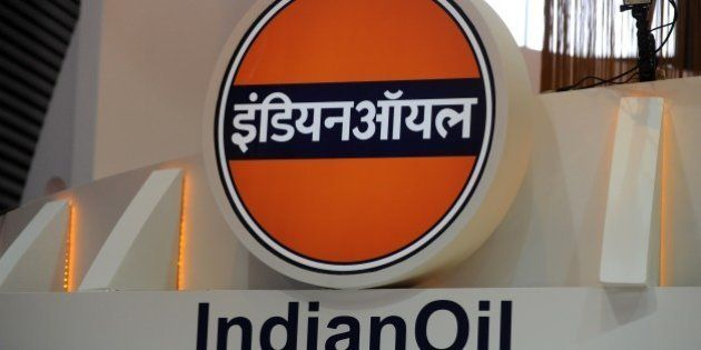 A picture shows the logo of the Indian Oil Corporation during the World Gas Conference exhibition in...