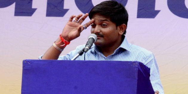 AHEMDABAD, INDIA AUGUST 25: Hardik Patel at the 'Maha Kranti' rally at GMDC ground in Ahmedabad. The...