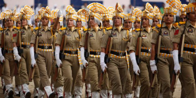 Women of Jammu and Kashmir police march on the occasion of 69th anniversary of India's independence from...