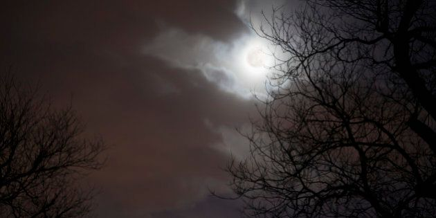 Night Sky with Moon, Clouds and