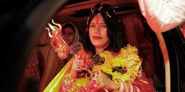 MUMBAI, INDIA - AUGUST 27: (file photo) Radhe Maa, self-proclaimed Godwoman, visits Siddhivinayak Temple,...