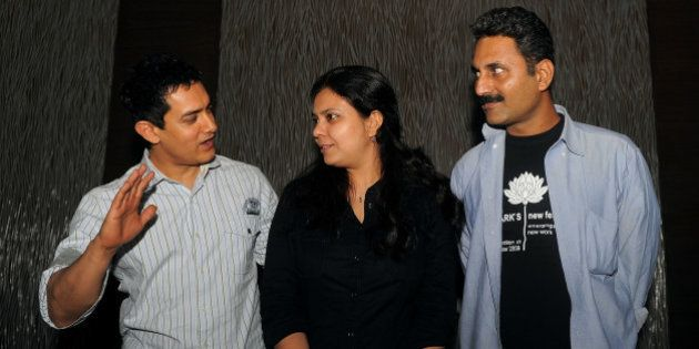 Indian Bollywood Actor Aamir Khan (L), writer and directors Anusha Rizvi (C) and Mahmood Farooqui (R)...
