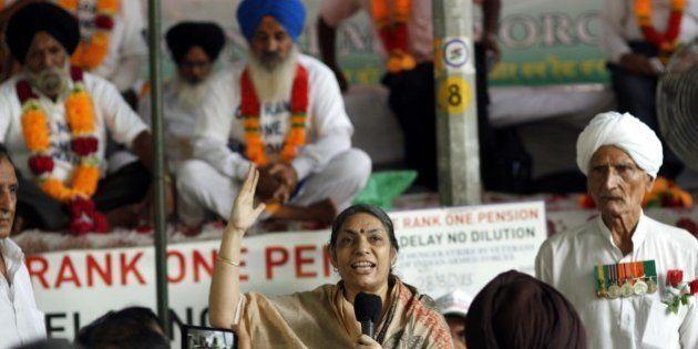 NEW DELHI, INDIA - AUGUST 28: Ex-servicemen protest demanding 'One Rank, One Pension' (OROP) scheme,...