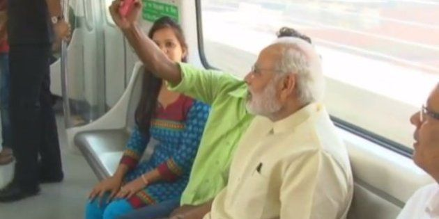Prime Minister Narendra Modi Takes A Metro Ride, Clicks
