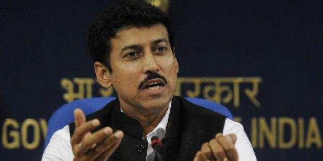 NEW DELHI, INDIA - NOVEMBER 11: Minister of State for Information & Broadcasting, Rajyavardhan Singh...