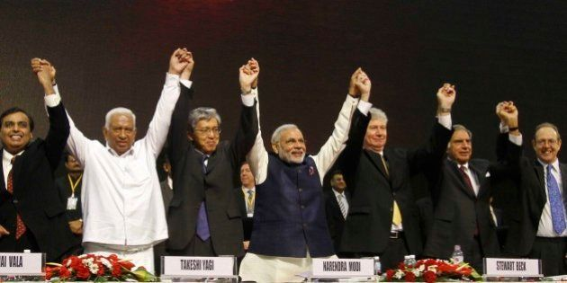 From Left to right, Reliance Industries Limited Chairman Mukesh Ambani, former Gujarat finance minister...