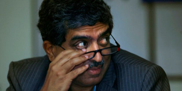 Nandan Nilekani, left, Chairperson Unique Identification Authority of India, a new government office...