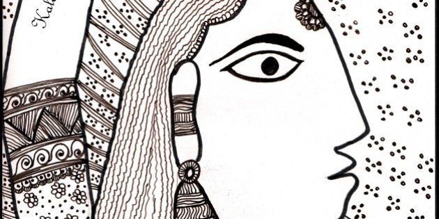 Depicted and tried a Madhubani art In indian Ink medium on A4 size Paper.Taken an example art from website...