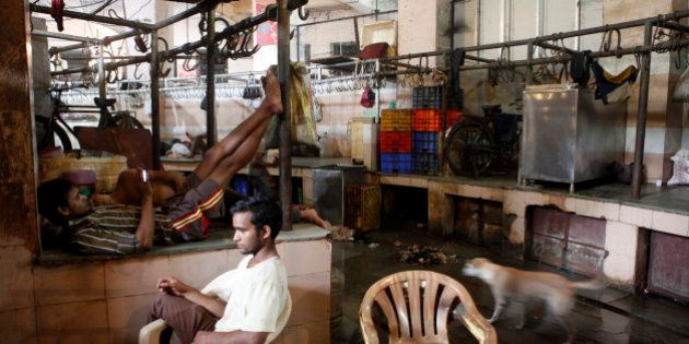 MUMBAI, INDIA - SEPTEMBER 10: Shopkeeper seen sitting idle at Crawford meat market on the first day of...