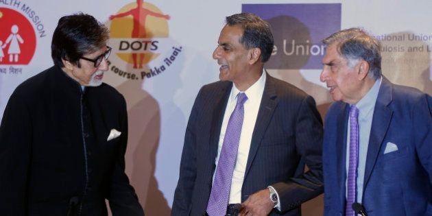 Bollywood superstar Amitabh Bachchan, left, U.S. Ambassador to India Richard Verma, center and Tata Group...