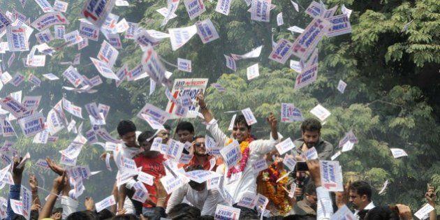 NEW DELHI, INDIA - SEPTEMBER 12: Akhil Bharatiya Vidyarthi Parishad (ABVP) candidates for the Delhi University...