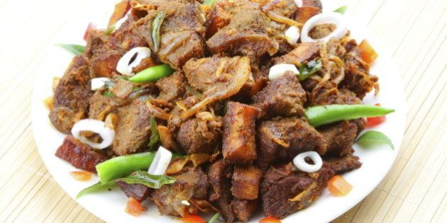 Indian meat fry served on