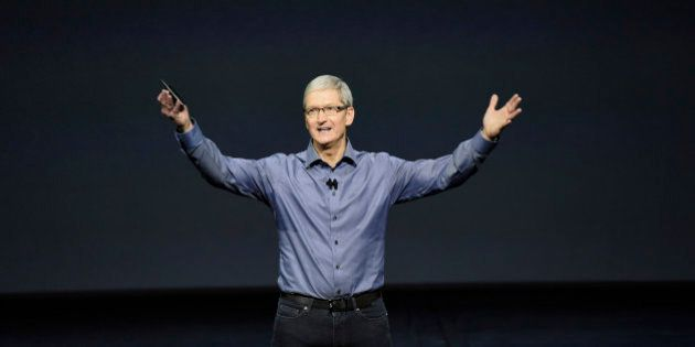 Tim Cook, chief executive officer of Apple Inc., speaks during an Apple product announcement in San Francisco,...