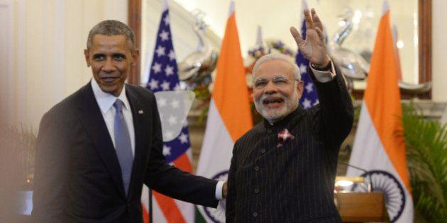 NEW DELHI, INDIA JANUARY 26: Prime Minister Narendra Modi and US President Barack Obama at a joint press...