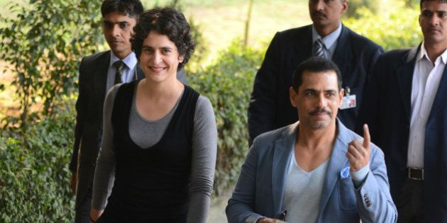 NEW DELHI, INDIA FEBRUARY 8: Robert Vadra and Priyanka Gandhi after casting the vote in New Delhi.(Photo...