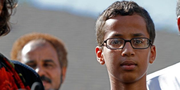 IRVING, TX - SEPTEMBER 16: 14-year-old Ahmed Ahmed Mohamed speaks during a news conference on September...