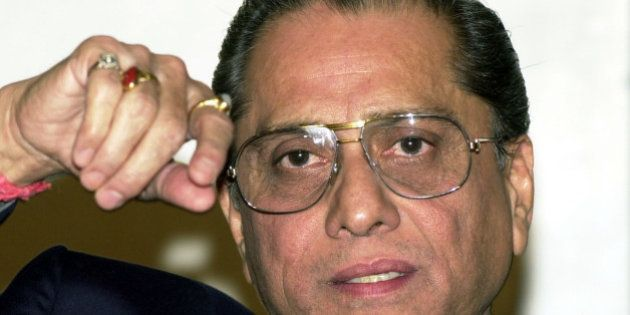 Board for Control of Cricket in India, or BCCI, President Jagmohan Dalmiya, gestures during a press conference...