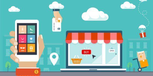 Retro flat style design vector illustration. E-commerce, shopping &