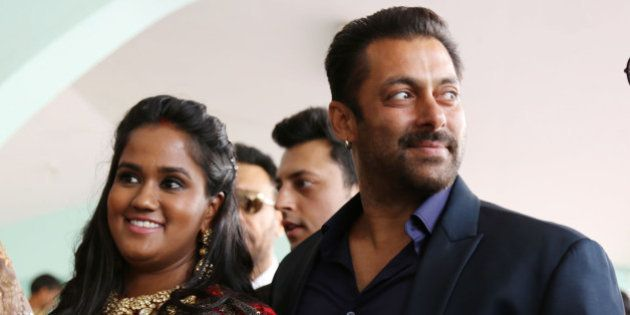 MANDI, INDIA - MAY 25: Bollywood actor Salman Khan with sister Arpita Khan Sharma, attending her marriage...