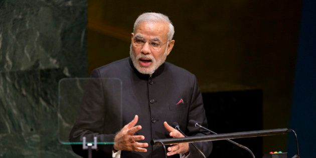 Indian Prime Minister Narendra Modi addresses the 69th United Nations General Assembly at UN headquarters,...