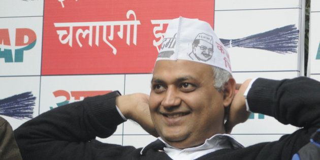 NEW DELHI, INDIA - DECEMBER 26: AAP leader Somnath Bharti addressing the press conference on various...