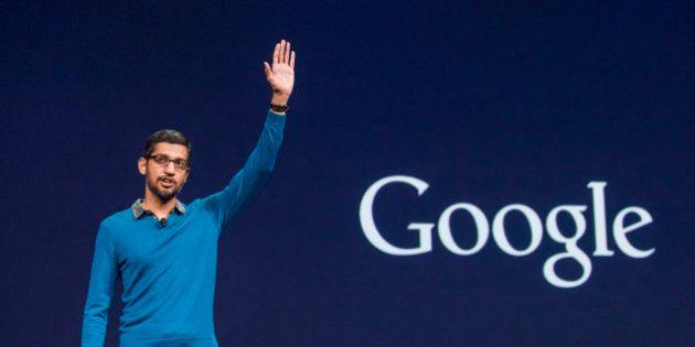 Sundar Pichai, senior vice president of products for Google Inc., speaks during the Google I/O Annual...