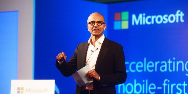 NEW DELHI, INDIA - SEPTEMBER 30: Satya Nadella, Chief Executive Officer of Microsoft, speaking to media...
