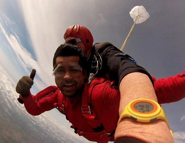 PHOTOS: BJP MP Pratap Simha Skydives From 13,000 Ft To Promote