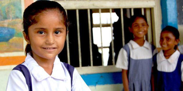 Indian girl at Village school trip near