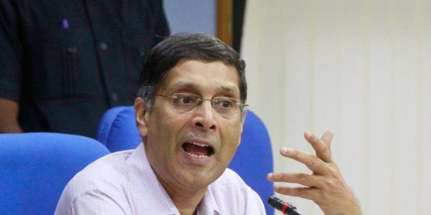 NEW DELHI, INDIA - SEPTEMBER 8: Chief Economic Advisor (CEA) Arvind Subramanian addressing a press conference...