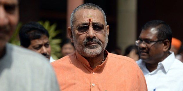 Indian Junior Minister for Micro, Small and Medium Enterprises Giriraj Singh leaves after a Bharatiya...