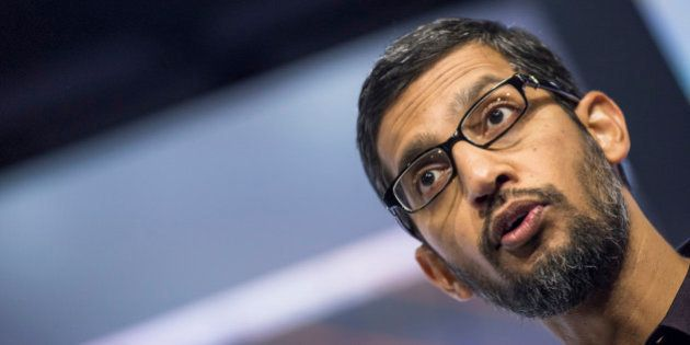 Sundar Pichai, chief executive officer of Google Inc., speaks during an event in San Francisco, California,...