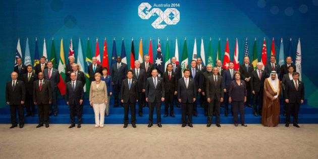 BRISBANE, AUSTRALIA - NOVEMBER 15: In this handout photo provided by the G20 Australia, (Front row L-R)...