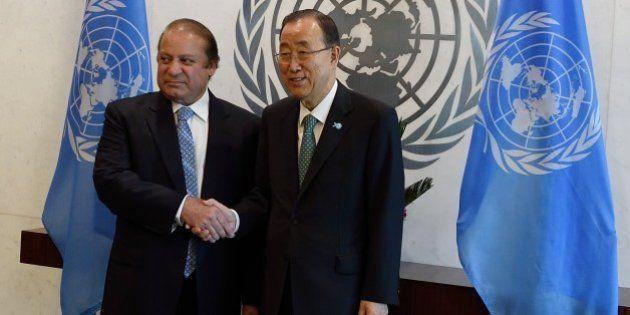UN Secretary-General Ban Ki-moon (R) meets with Muhammad Nawaz Sharif, Prime Minister of Pakistan, on...