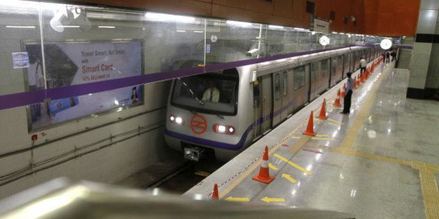 NEW DELHI, INDIA - JUNE 3: Delhi Metro Rail Corporation (DMRC) held trial runs for the newly inaugurated...