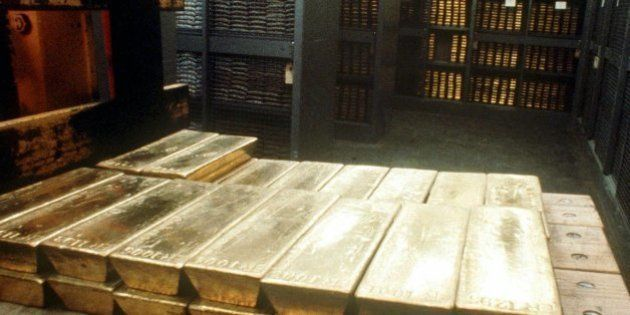 Undated photo of gold ingots in the strongroom of the Swiss national bank in Bern. The Swiss government...