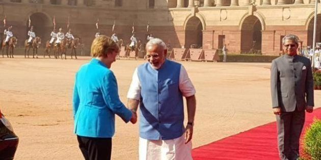 Narendra Modi's 'Namaste' Greets Angela Merkel As She Arrives In India For