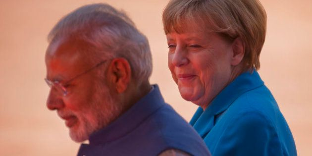 German Chancellor Angela Merkel, right, and Indian Prime Minister, Narendra Modi during the ceremonial...