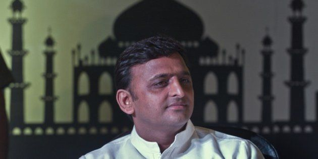 Uttar Pradesh (UP) Chief Minster Akhilesh Yadav listens during the UP Investor Conclave in New Delhi...