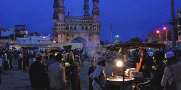 Muslims at nightmarket near Charminar at ramadan, Hyderabad, Andhra Pradesh, India,