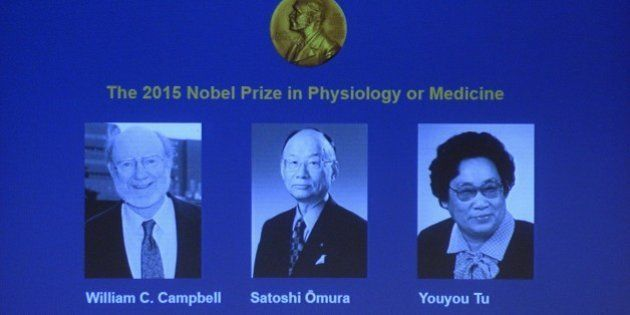 The portraits of the winners of the Nobel Medicine Prize 2015 (L-R) Irish-born William Campbell, Satoshi...