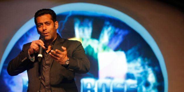 Bollywood actor Salman Khan, speaks during an event to launch of television show 'Bigg Boss 6', in Mumbai,...