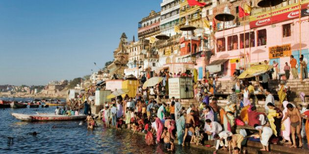 India, Varanasi, Ganges River, pilgrims on