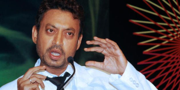 Indian cinema actor Irrfan Khan speaks at a launch party for the Bollywood film 'Acid Factory' in Mumbai...