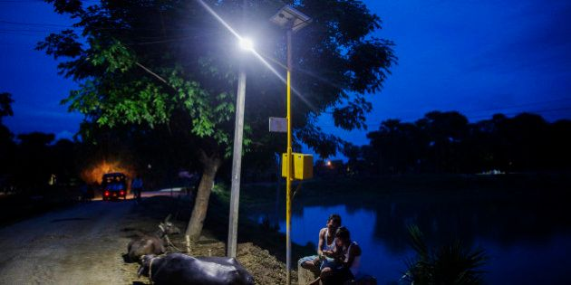 Cows rest by the side of a road as a man and child sit under a light powered by energy from a solar power...