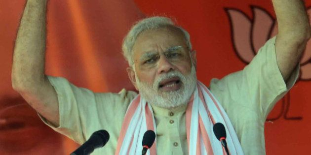 Indian Prime Minister Narendra Modi speaks during an election rally in Banka district of the eastern...