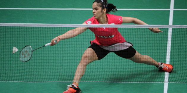 JAKARTA, INDONESIA - AUGUST 15: Saina Nehwal of India competes against Lindaweni Fanetri of Indonesia...