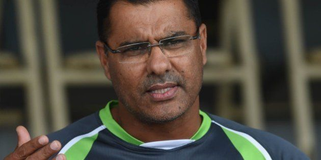 Pakistan cricket head coach Waqar Younis talks to press in Lahore on April 10, 2015. Pakistani cricket...