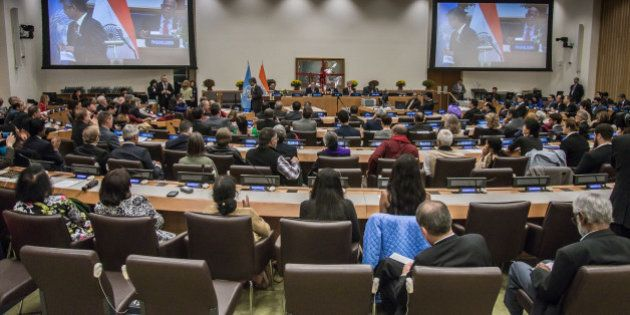 UNITED NATIONS, NEW YORK, UNITED STATES - 2015/10/02: Attendees of the event fill the UN's Conference...